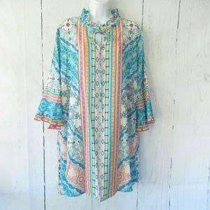 Umgee Dress Floral Scarf Ruffle Bell Sleeve